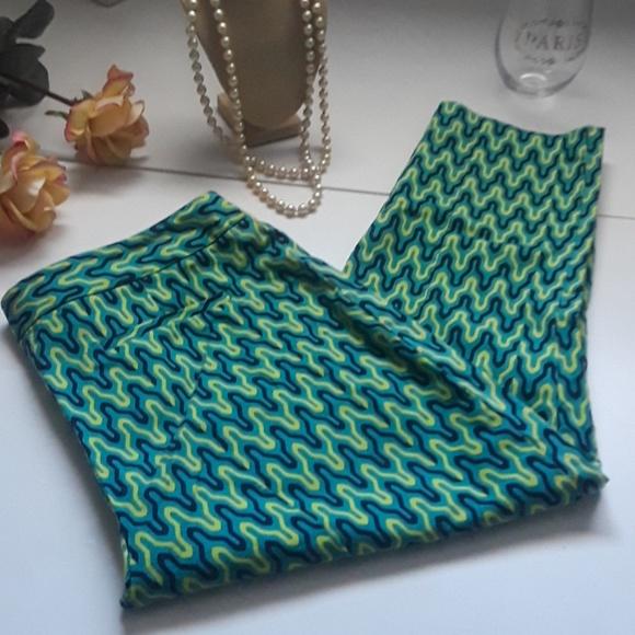 Elie Tahari Pants - ELIE TAHARI green yellow cottongeometric capri 8